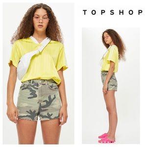 TOPSHOP Camouflage Cutoff Denim Mom Shorts